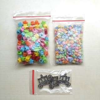 ALL FOR $2.90, Beautiful Beads Bundle SALE, Colourful Star Beads, Flower Beads and Carriage Metal Charms