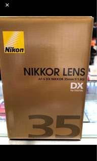 Nikon dx 35mm f1.8g brand new