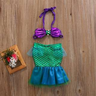 BABY INFANT TODDLER MERMAID TAIL COSTUME BIKINI TOP