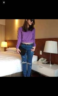 🚚 正韓紫色短版上衣