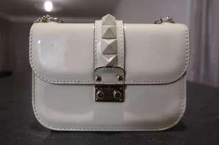 Valentino Patent White Shoulder Bag Studded Small Size
