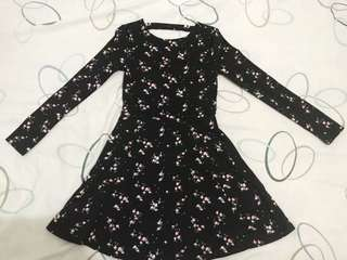 H&M Florall Dress Black