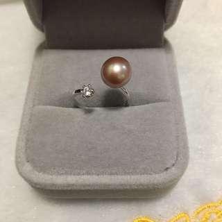 天然淡水珍珠s925純銀精緻戒指