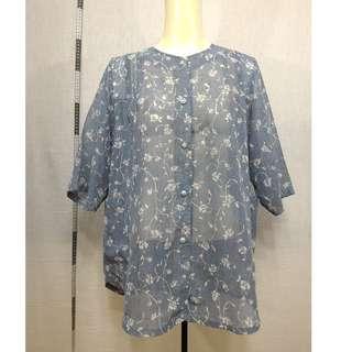 🚚 11118167-Antique マルフク light slate gray collarless floral shirt古著亮岩灰無領花襯衫