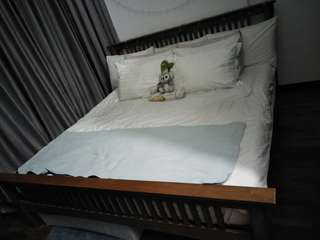 Wooden king size bed frame and mattress