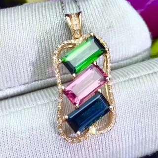 高淨度碧壐雙拼吊墜 18k金鑲嵌鑽石