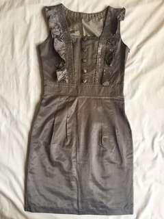 Sleeveless Ruffled Taupe Dress