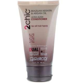 Giovanni, 2chic, Ultra-Sleek Conditioner, for All Hair Types, Brazilian Keratin & Argan Oil (44 ml)