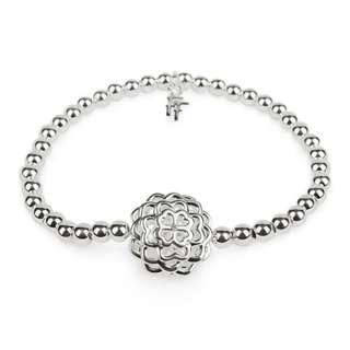 Folli Follie - Santorini Flower Silver Plated Clear Crystal Stone Elastic Bracelet