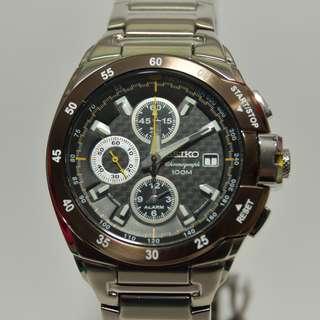 Seiko - SNA651P1 - Criteria, Alarm Chronograph - (Ad model) - carbon dial, brown 啡褐色錩圈 (請留意下面Information)