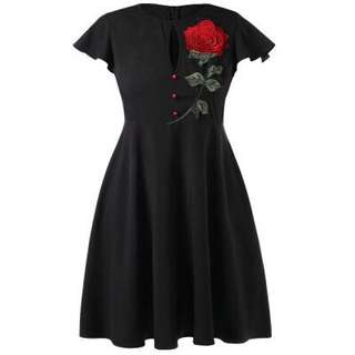 Free Shipping Promotion-15-25 Days Shipping Time for Rose Embroidered Plus size Flare Dress