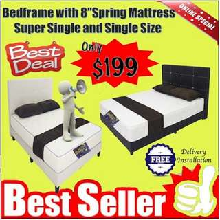 Bedframe with 8 inches Spring Mattress Super Single
