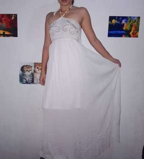 Boho Lace Long white maxi dress