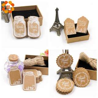 (Pre-order) NEW 50 PIECES kraft thank you gift tags with twine