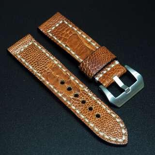 (2479) 全新24mm橙色鴕鳥腳皮真皮錶帶配針扣 合適 Panerai, Seiko, Bell & Ross, Tudor 等等