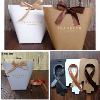 (Pre-order) 20 Pieces Thank You/ Merci / Plain Gift Bags with ribbons