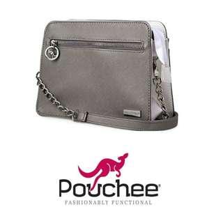 Pouchee Avi Faux Leather Crossbody Bag w/ detachable strap