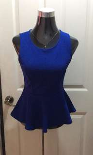 Forever 21 Blue Peplum Top - Small