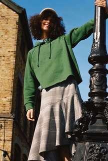 Topshop dark green raglan hoodie