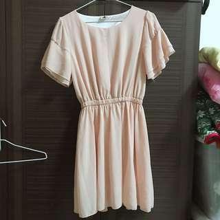 🚚 粉紅 氣質雪紡洋裝 S-L