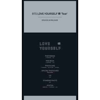PRE ORDER BTS LOVE YOURSELF TEAR