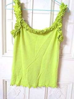 🚚 專櫃品牌iroo 荷葉邊花朵肩帶螢光黃綠色無袖上衣背心
