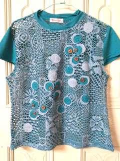 🚚 日本品牌復古鏤空雕花朵短袖上衣 韓國製 古著 cintage