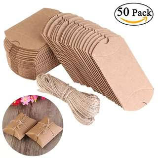 (Pre-order) 50 Kraft blank pillow candy gift box with twine