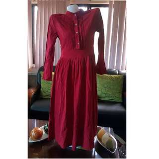 Red Chinese collared Maxi dress