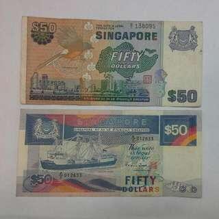2 Singapore $50 Bird Ship Notes B/1 & A/2 Prefix