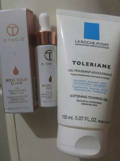 Cleansing La Roche - posay paris - toleriane softening foam gel free o.two.o rosegold elixir oil 24K gold infused