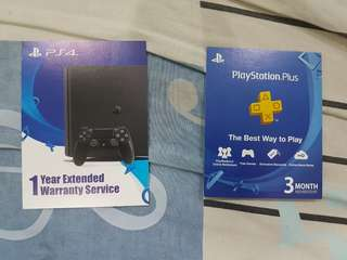 PS4 PS PLUS 3 Month Membership and 1 Year Warranty extended card