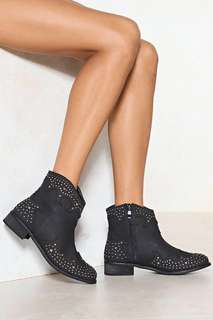 Nastygal Black studded cowgirl boots size 8