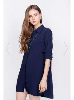 🚚 Fayth Oxford Shirt Dress Navy