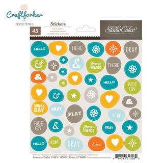 🚚 ♥Stickers♥ Phrases, Symbol, Shapes Stickers in Wonky Circle 45pcs