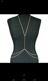 Body chain necklace gold plated