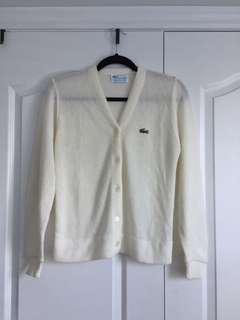 VINTAGE Authentic Lacoste Wool Cardigan - White