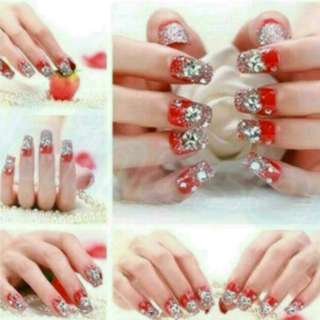 Red Glitter Rhinestone Fake Nails With Glue