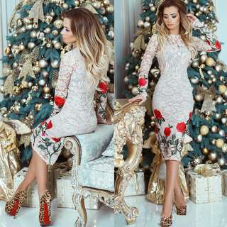 Free Shipping Promotion-15-25 Days Shipping Time for Stylish Women Embroidery Lace Bodycon Dress