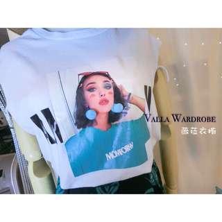 🚚 韓國🇰🇷連線女人圖印排釦花裙套裝