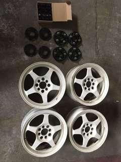 SRS15吋輕量化鋁圈 附2組SPR訂做墊寬器 厚與薄及鋁圈螺絲
