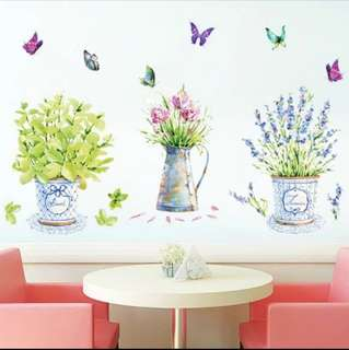 Three colourful pot flower with butterflies wall stickers