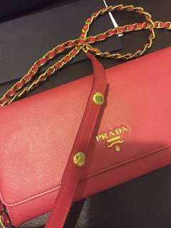 100% Authentic Prada saffiano leather chain purse
