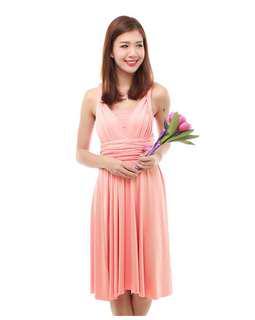TheBMDShop Cherie Convertible Dress in Peach Pink