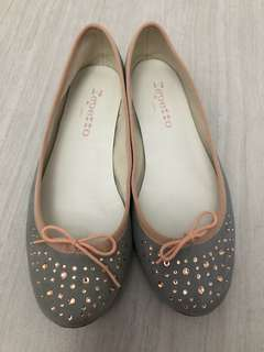 Repetto麂皮水晶平底鞋