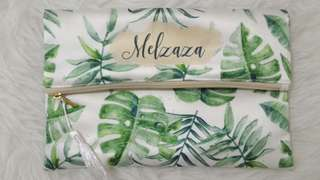 CUSTOM SATIN POUCH green leaves