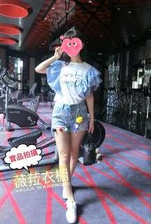 🚚 韓國🇰🇷東大門方格大荷葉袖T恤