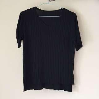 黑色仿針織上衣