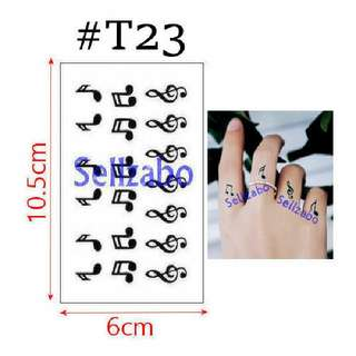 #T23 Fake Temporary Body Tattoo Stickers Washable Wash Off Print Sellzabo Black Colour Patterns Designs Tatoo Tatto Tattoo Accessories Music Musical Notes