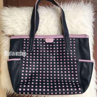 Authentic Preloved VGC Fossil Tote Shopper Bag Midnight Navy Multi